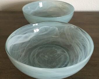 Light Blue Swirled Glass Bowls; Blue Glass Bowls; Glass Dinnerware; Blue Kitchenware