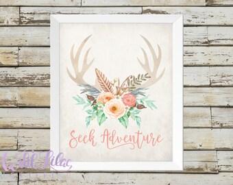 DIGITAL PRINT - Seek Adventure - Mint Green, Peach, Coral, Floral Antlers