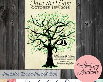 Two love birds in a tree Save The Date Card