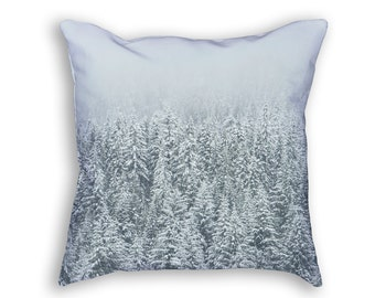 Trees in Snow Throw Pillow, Forest in Winter Decorative Pillow, White & Green Accent Throw Pillow