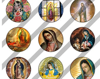 Our Lady of Guadalupe digital collage sheet 4x6 for bottlecaps - 1 inch - INSTANT DOWNLOAD
