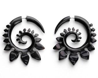 Tribal Spade Fake Gauges Horn Earrings