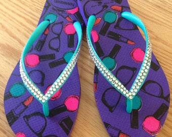 Handcrafted Swarovski Crystal embellished Havaianas flip flops