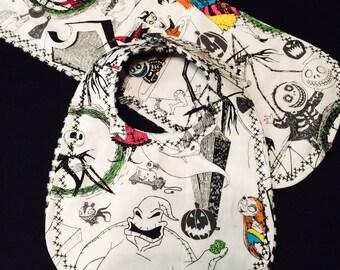 The nightmare before Christmas inspired handmade bib and burp cloth set, sally stitches