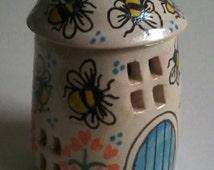 Handmade pottery cottage/bumblebee cottage/ceramic house/tiny pottery house/bee house/honeybee cottage/handmade stoneware house/bee gift/bee