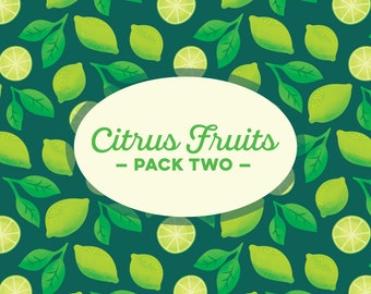 INSTANT DOWNLOAD! Citrus Fruit Pack Two: 5 Digital Scrapbook Papers