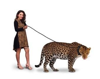 Black Leopard Print Long Sleeve Blouse/Asymmetric Dress/Faux Leather Detail/Leopard Print Mixed Dress by FabraModaStudio/FAB503