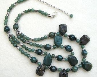 Fancy Jasper Gemstone Statement Necklace Double Strand Green Gemstone Necklace Chunky Jasper Necklace Beaded Bib Green Jasper Necklace
