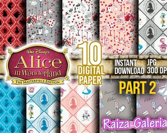 AWESOME Disney ALICE in Wonderland Digital Paper. PART 2 Instant Download - Scrapbooking - Alice in Wonderland Printable Paper