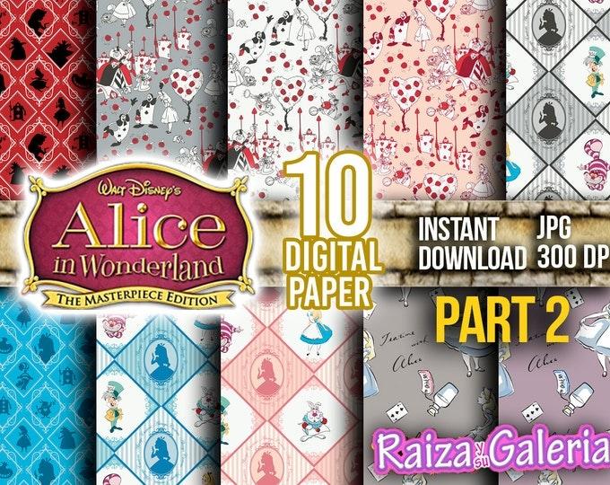 AWESOME Disney ALICE in Wonderland Digital Paper. PART 2 Instant Download - Scrapbooking - Alice in Wonderland Printable Paper