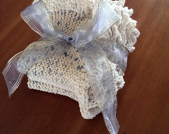 Set of Three Knitted Spa Cloths with Crocheted Edgings
