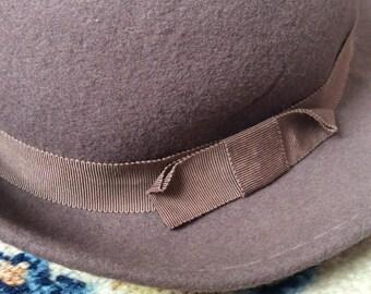 Women's vintage brown hat WPL 4384 100% wool