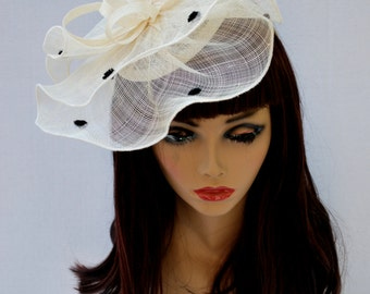 Ivory Fascinator, Womens Tea Party Hat, Church Hat, Derby Hat, Fancy Hat, Ivory Hat, Tea Party Hat, wedding hat