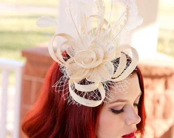 Ivory Fascinator, Womens Tea Party Hat, Church Hat, Derby Hat, Fancy Hat, White Formal Hat, Tea Party Hat, wedding hat