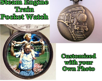 """Custom Made Steam Engine Train Railroad Pocket Watch with Your Photo w/31"""" Chain OR 14"""" Belt Chain Vintage Style"""
