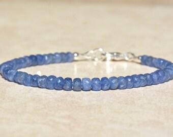 Sapphire Bracelet, September Birthstone, Sapphire Gemstone Bracelet, Natural Blue Sapphire, Birthday Gift for Her, Beaded Stack Bracelet