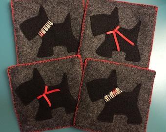 Scottie Dog Felt Coaster - Set of 4