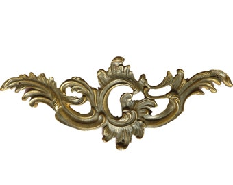 Antique French Rococo Bronze Pediment Plaque Mount - French Bronze Hardware Salvage - Shabby Chic Furniture Ornament