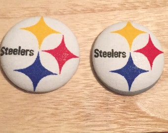 Steelers Button Earrings NFL