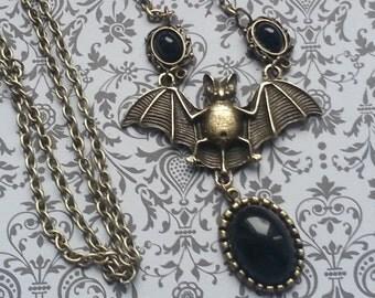 Black bat necklace bronze