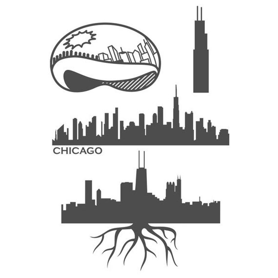 Chicago The Bean Designs Pack Cuttable Svg Dxf Eps By