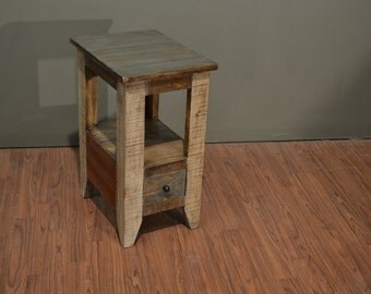 Rustic Modern Style Solid Pine Wood Multi Colored Narrow End Table / Side Table or Nightstand