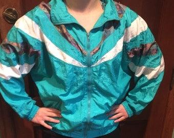 Turquoise Windbreaker (Size Large)