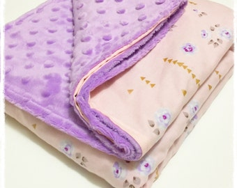 Pink and Purple floral, Minky Baby Blanket