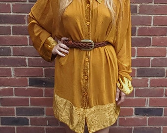 Vintage Saffron Velvet and sheer tunic //