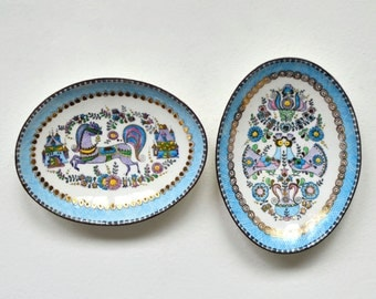 Small enamel dishes -- vintage Steinbock of Austria gilded & enamel pin dish, ring holder, fairy tale horse and love birds, blue gold purple