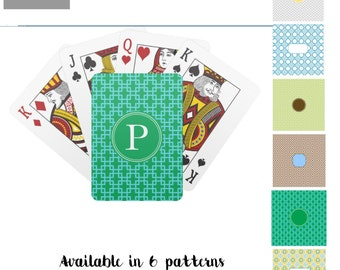 Personalized Monogram Playing Cards, Teal and Green Personalized Poker Cards