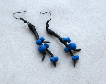 Brown twig jewelry Woodland jewelry Blackthorn twig earrings Tree branch earrings Blue berry jewelry Primitive jewelry Nature inspired