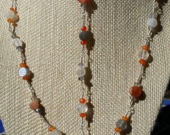 Shiva shell necklace, moonstone necklace, carnelian necklace, lariat necklace, hand wrapped necklace