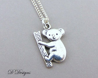 Silver Koala Necklace, Silver Koala Pendant, Silver Charm Necklace, Silver Necklace, Trendy Necklace