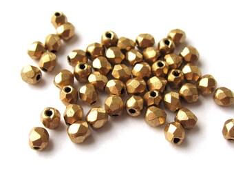 50 piece 3mm mat metallic flax Czech beads