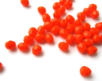 50pcs 4mm opaque neon Orange Czech beads