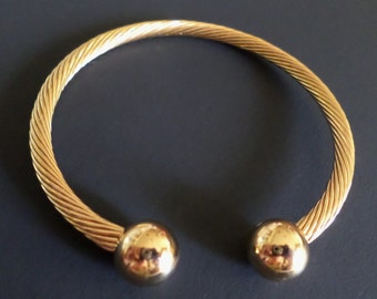 Fashion Cable Twisted Gold Tone Magnetic Cuff Bracelet.