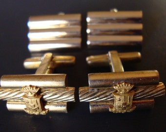 Vintage Lot of Two Pairs of Gold Tone Cuff Links for Men.