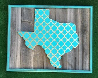 Rustic Teal Texas Frame Art