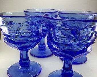 Fostoria Argus Blue Glasses  4pc