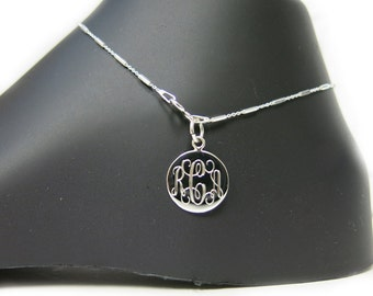 Monogrammed 925 Sterling Silver Tube Chain Personalized Anklet