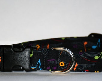 Music Note Dog Collar – Dog Collar – Multi Color Music Note Dog Collar – Handmade Fabric Dog Collar