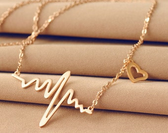 Heartbeat Electrocardiogram Necklace / Gold or Silver / ECG EKG / Cute Medical School Necklace / Heart Beat / Love Pulse / Gifts for Her
