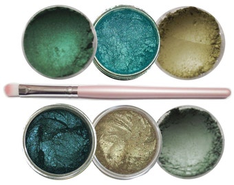 Ultimo Minerals THE GREENS Pigments Eye Shimmer Shadow Liner Kit + Brush - Chemical Free - Gluten Free - Free Shipping!