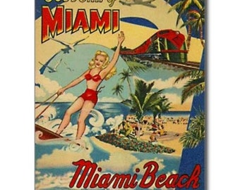 "Vintage Post Card Magnet MAIMI BEACH Florida MAGNET 2"" x 3"""