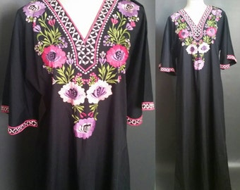 1950s embroidered muumuu, womens vintage Kaftan, Caro of Honolulu,  black w/ pink and purple flowers, retro maxi dress, bell sleeves V neck