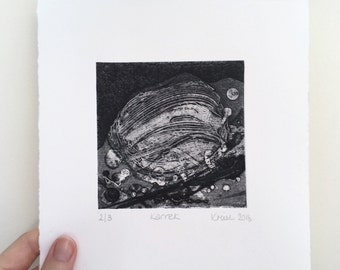 Black and White Abstract Print. Cornish Landscape Art. Original Collograph. Textured monochrome art. Hand Pulled Print.