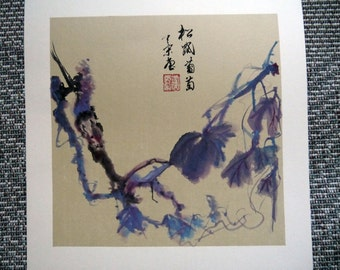 Squirrel on Grapevines-Traditional Chinese watercolor painting-Handicraft Art- Wall Art -home decor