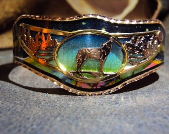 Colorful Handcrafted Copper Wolf Howling Cuff Bracelet