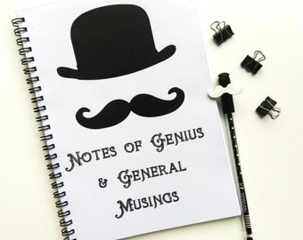 Moustache Notes of Genius Quirky A5 Lined Notebook